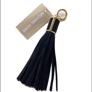 Michael Kors Large Tassel Bag Charm Black Leather